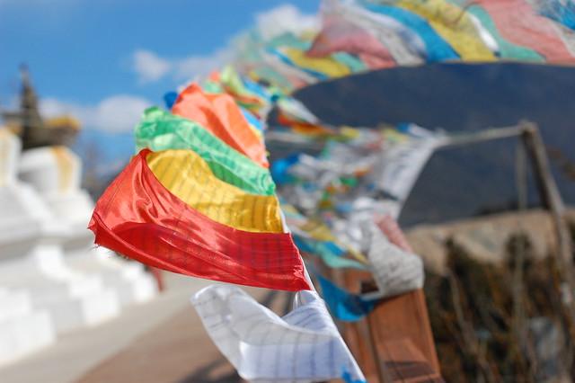 Tibetan Prayer Flags in the Wind