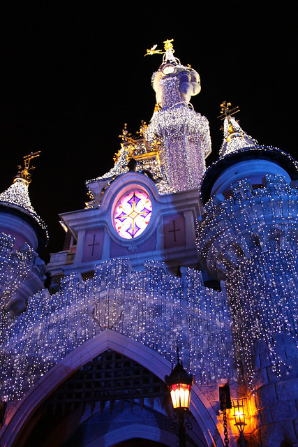 Sleeping Beauty Castle lit up for Christmas