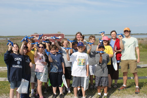 Buddy Bison, students, and Cindy Heffley from Fish and Wildlife at the Outer Banks.