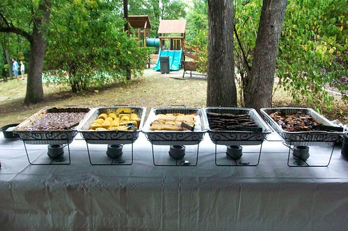 Yummy picnic food at the rehearsal dinner
