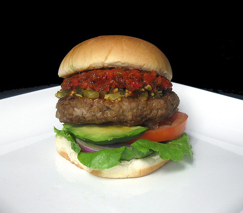 Recipe #271: Spicy Turkey Burgers with Roasted Red Pepper Salsa & Sweet Pickle Relish