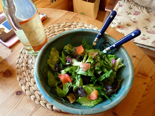 Summer salad and sun water