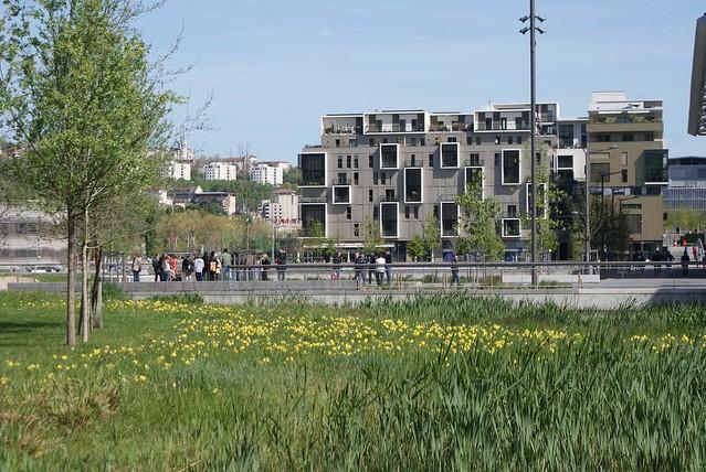 Parc le long de la Saône à la Confluence.