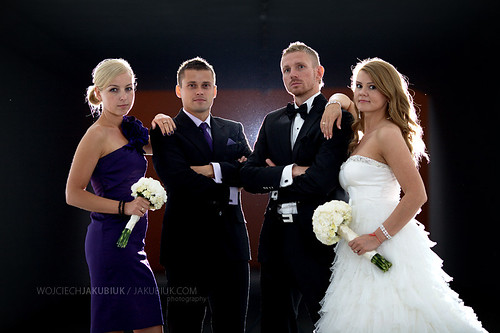 Bride, groom and witnesses portrait.
