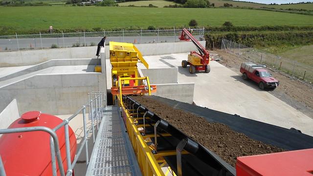 Material on feed conveyor