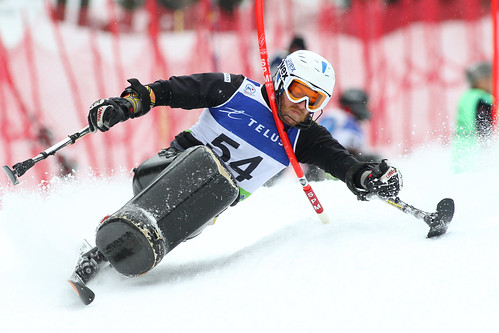 Caleb Brousseau in action in an IPC World Cup slalom in Panorama, B.C.