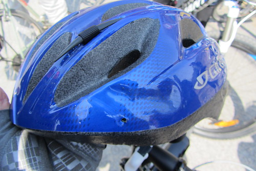 Wipe out! BK's dented helmet.