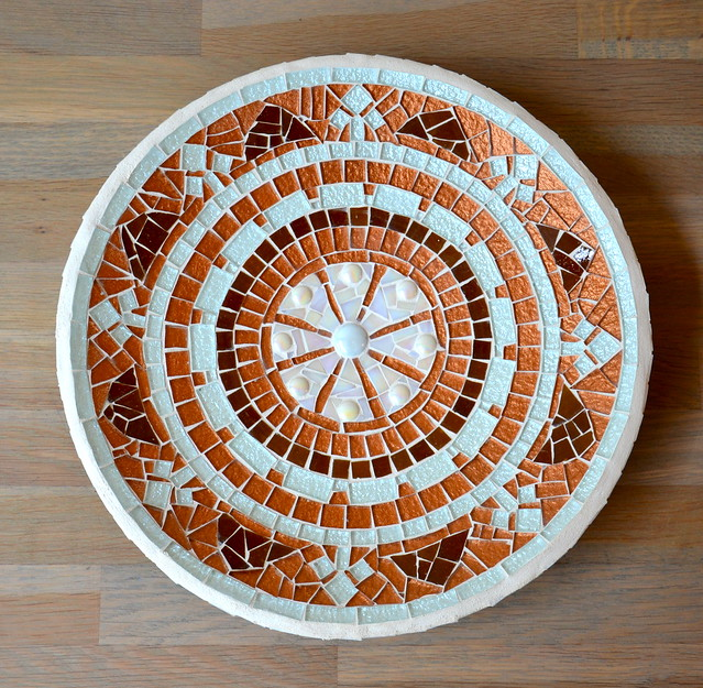 Glass mosaic dish in copper, brown and white | Glass mosaic ...