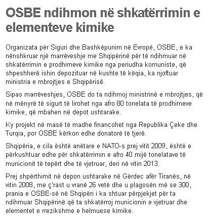 OSBE ndihmon në shkatërrimin e elementeve kimike
