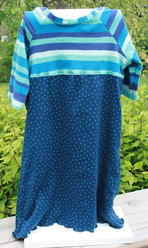 Green & blue stripes & dots knit dress
