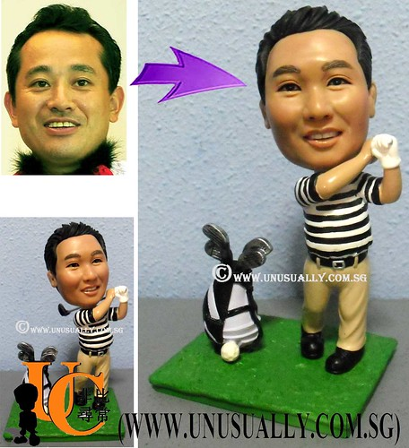 Custom 3D Swinging Male Golfer Figurine - @ www.unusually.com.sg