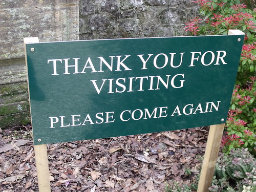 Minterne Gardens - sign - Thank you for visiting