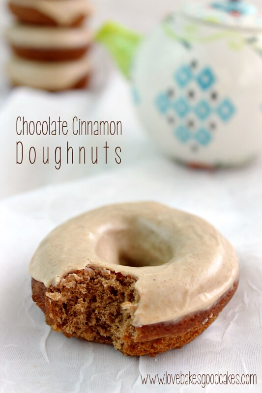 Chocolate Cinnamon Doughnuts - a tender chocolate cinnamon doughnut with a tempting cinnamon glaze! #doughnuts #chocolate #cinnamon #breakfast