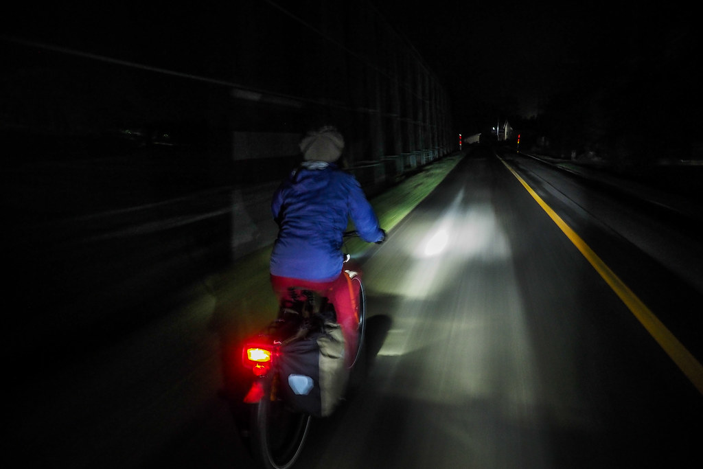 Cycling at night on the road in Yuni, Hokkaido, Japan