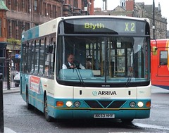 Leaving Newcastle Bus Station is this Wright Commando bodied VDL SB 200,working service X2 to Blyth....