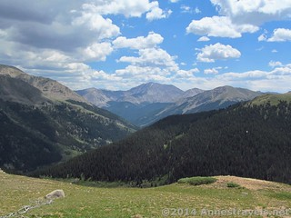 Looking out toward Lat Plata Peak (center) from the traditional viewing area at Independence Pass, White River National Forest and San Isabel National Forest, Colorado