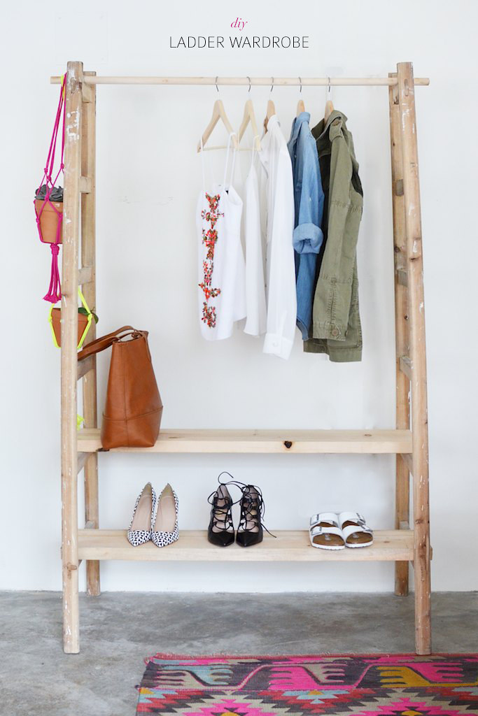 Make a wardrobe using a ladder www.apairandasparediy.com