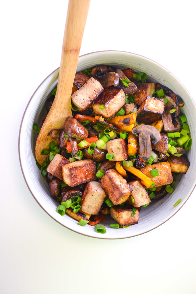 soy-glazed tofu, carrots, and mushrooms - Things I Made Today