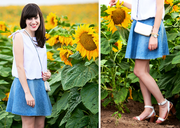 sunflowers, denim skirt, happy, outfit detail, fashion in israel, אאוטפיט, שדה חמניות, אופנה בישראל, חצאית ג'ינס, סנדלים לבנים