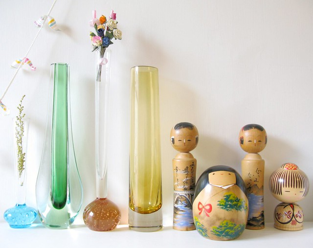 Shelfie! Vintage vases and Kokeshi finds | Emma Lamb