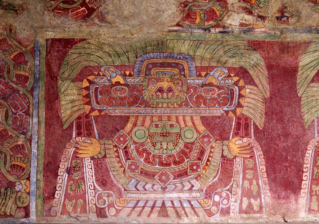 Teotihuac n palacio de tetitla mural con figura luciendo for Mural z franciszkiem