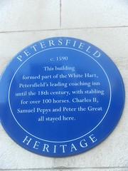 Photo of Charles II, Samuel Pepys, Peter the Great, and The White Hart, Petersfield blue plaque