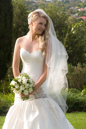 strapless empire waist long veils wedding dress