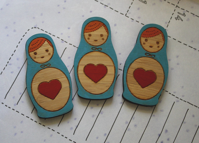 Babushka love - new Little Love Boat brooch design