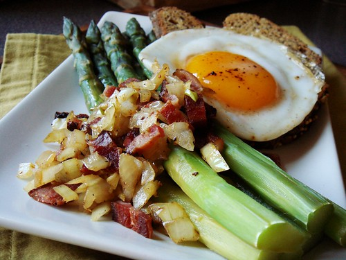 Asparagus & Bits of Bacon, Fried Duck Egg