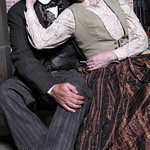 Will LeBow as Thomas Jefferson Calhoun and Mary Beth Fisher as Alice Calhoun in the Huntington Theatre Company's production of <i>How Shakespeare Won the West</i>, playing at the BU Theatre. Part of the 2008-2009 season. Photo: Craig Bailey/Perspective Photo