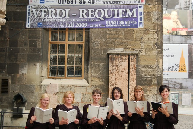 Colorado Symphony Chorus members at the Stephansdom in Vienna, Austria