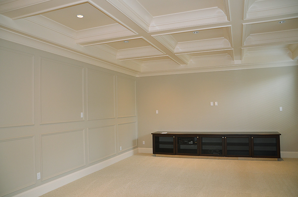 Wall Panelling And Coffered Ceiling Design.