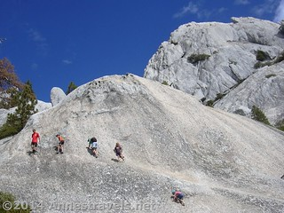 Scrambling on the rocks in Castle Crags State Park, California