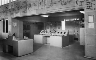 Indoor shot of Pori short wave station, 1954.