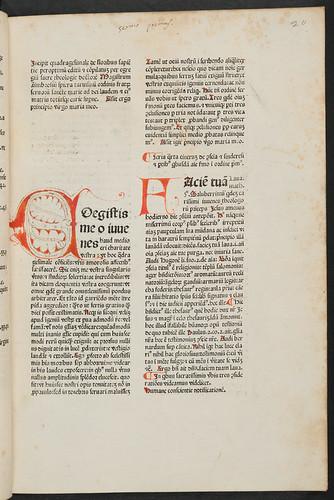 Penwork initial and incipit title in Spiera, Ambrosius de: Quadragesimale de floribus sapientiae