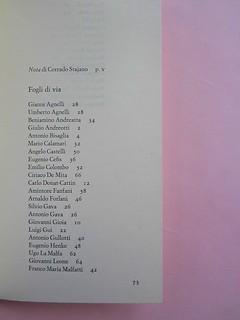 """Fogli di via, di Tullio Pericoli. Einaudi 1976. Responsabilità grafica non indicata [Bruno Munari]. Pag. dell'Indice, elenco dei """"capitoli"""" in colonna centrata sulla pagina, i titoli allineati a sinistra, il numero della pag. segue (part.), 1"""