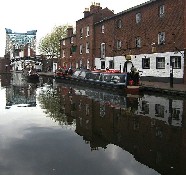 Gas Street Basin canal showing the cube, by Parmjit Flora