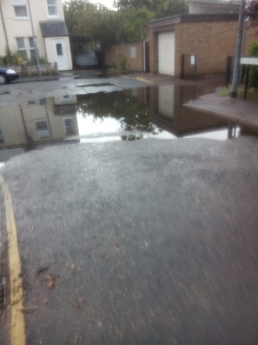 Ankle-deep puddle after sudden rain