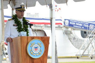 Capt. Aldante Vinciguerra, Coast Guard Cutter Rush commanding officer, addresses the audience during during a change of command ceremony at Coast Guard Base Honolulu, June 27, 2014. Vinciguerra most recently served as Command and Operations School Chief at the Leadership Development Center in New London, Conn. Official U.S. Coast Guard photo by Chief Petty Officer Kurt Fredrickson.