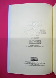 Romanzi, collana di Tunué edizioni. Progetto grafico di Tomomot; impaginazione di TunuéLab. Colophon / verso del frontespizio [Barison] (part.), 1