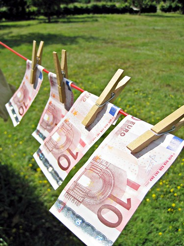 4 Ten Euro Bills on the Washing Line
