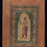 Album of Persian and Indian calligraphy and paintings, A young Mughal courtier with a falcon, Walters Manuscript W.668, fol.64b