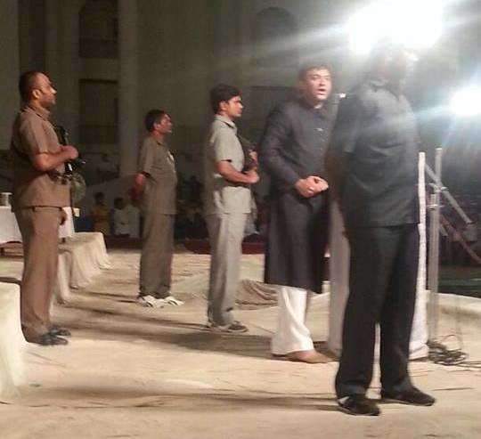 Akbaruddin Owaisi adressing under secuirty cover.