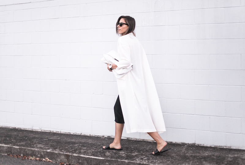 modern legacy blog street style off duty ASOS Duster Coat Common Projects slide sandals Topshop Boutique midi silk cami dress Zara leather clutch monochrome black white blogger balayage hair tuck oversized minimalist (7 of 8)