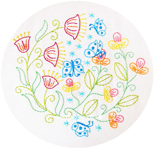 Flutterby Garden embroidery pattern
