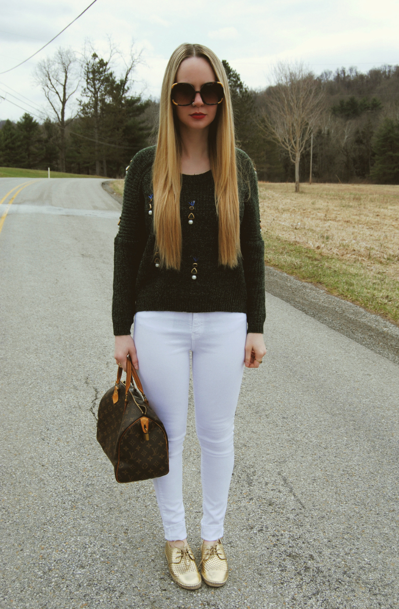 Louis_Vuitton_Speedy_35_Isaac_Mizrahi_Gold_Espadrilles_WhiteJeans_Beaded_Sweater