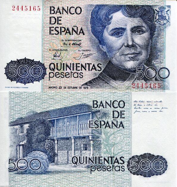 500 Pesetas Španielsko 1979-83, Pick 157