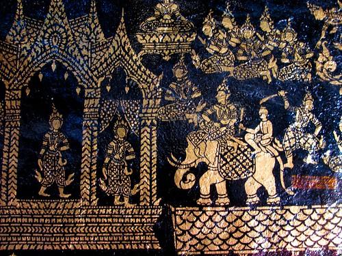 Decoración interior del templo principal del Wat Xieng Thong