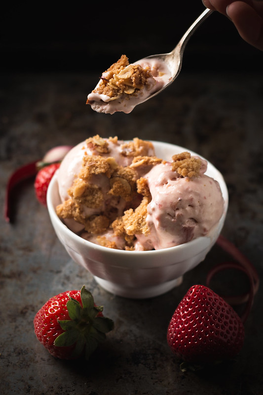 Strawberry Rhubarb Ice Cream with Crunchy Almond Crumble Topping