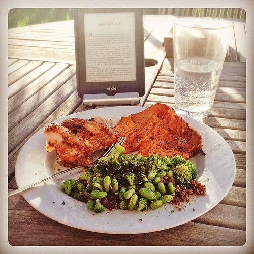 First Sunday dinner on the grill - chicken, sweet potato, and quinoa with broccoli and edamame. #realfood #eathealthy